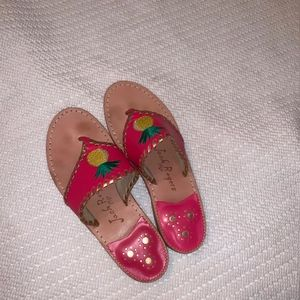 """Jack Rogers """"Pineapple"""" hot pink sandals size6 -"""